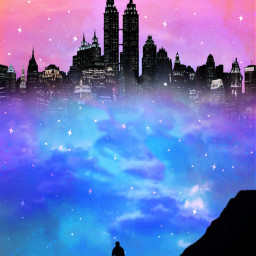 man city mountain mountains background backgrounds sky skybackground blue stars pink aesthetic silhouette blueandpink 😁 freetoedit