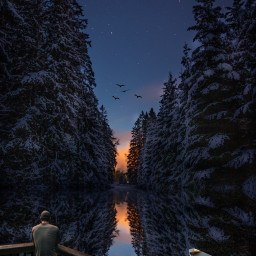 winter snow lanscape trees foresy forest lake river balcony man watching