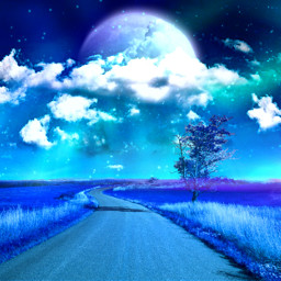 blue blueaesthetic tree background backgrounds sky skybackground cloud clouds moon light freetoedit