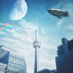 freetoedit sky building moon rainbow