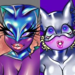 artist myart redrsw cat catsuit latex latexsuit cute hot alien aliengirl drag dragqueen purple purpleskin digitalart digitalpainting digital beforeandafter redraw 2021 freetoedit