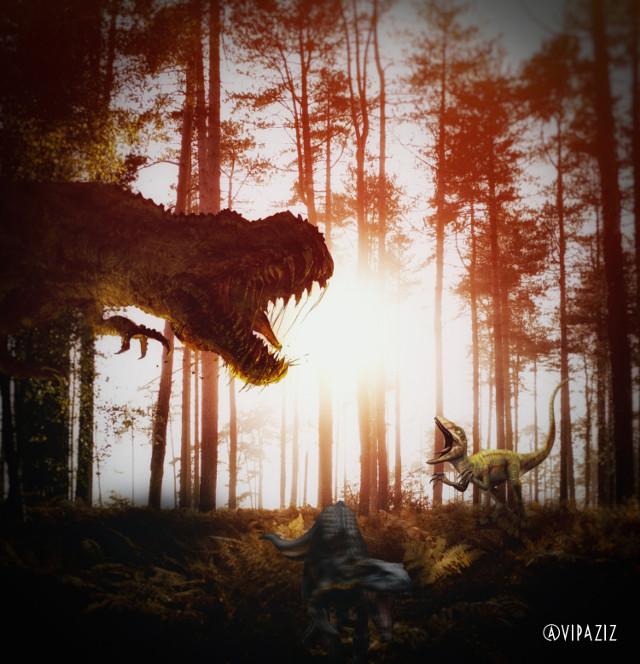 - - - - - - - - - - - - - - - -  #jurassicworld #dinosaur #dinosaurs #hollywood #movie #poster #Jungle #dinosaurworld #sun #t-rex #monster #trees #madewithpicsart #battle #fight #forest #nature  #echo