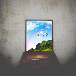 freetoedit photoshop nature hotairballoon image dream rainbow happy dark art