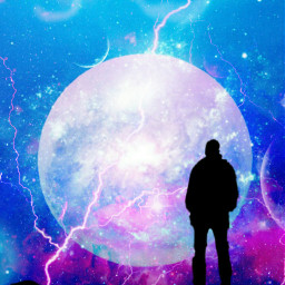man silhouette mansilhouette background backgrounds sky skybackground stars moon space blue pink aesthetic aestheticbackground blueandpink 😁 blueandpinkbackground freetoedit