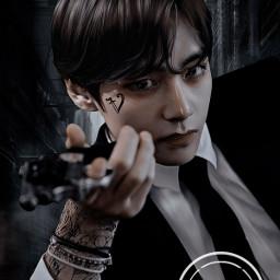 picsart heypicsart edit kpopedit btsedit bts kpop taehyung btsv btstaehyung v black dark mafia