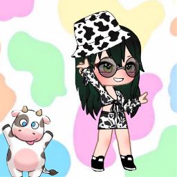 clothes cows animegirl black white anime picsart freetoedit