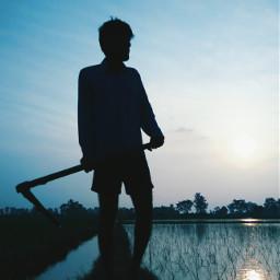 picsart blue fields man hardwork