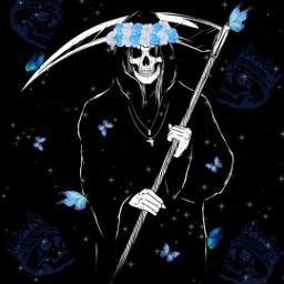 grimreaper reaper butterfly butterflies flowercrown blue death skull skulls bluebutterfly sparkles freetoedit srcbluebutterflies bluebutterflies