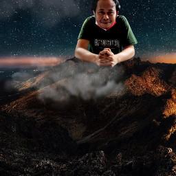 gunung manipulasi awan bintang malam freetoedit