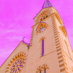 cathedral lutheran faith pink pastel sky angle filter picsart photo photography phone redminote7 freetoedit
