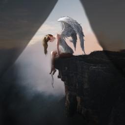picsartchallenge angel fallenangel giant giantpeople spotlight cliff wingsofanangel wings freetoedit ecgiantpeople