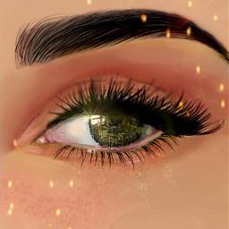 eye greeneye makeup sparkles eyelash freetoedit
