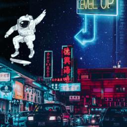 astronaut cyberpunk cool futuristic futute city neon neoncity cars makeawesome heypicsart @picsart space dystopiansociety skate heypicsart