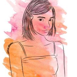 girl watercolor outline canvaspainting freetoedit