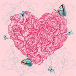 roses butterfly heart flowers butterflies pink blue roseheart flowerheart freetoedit srcbluebutterflies bluebutterflies