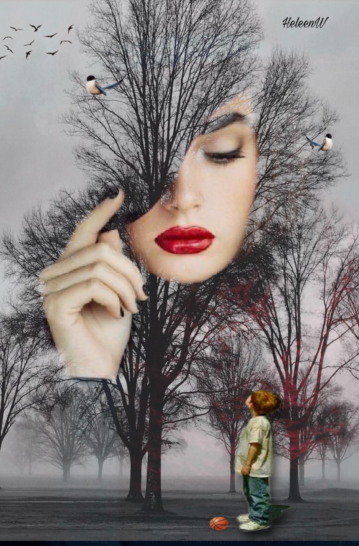 #doubleexposures #fantasy #imagination #lady #beautifullady #trees #forest #bird #boy #kid #playingwithpicsart #creative #creativity #diversity #freetoedit