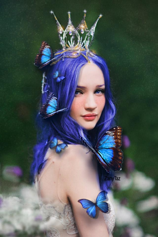 BLUE BUTTERFLIES 🔹💙🔹 #blue #crown #princess #bluebutterflies #freetoedit #srcbluebutterflies #photoedit