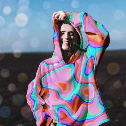 colorful hoodiegirl freetoedit