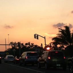 sunset florida traffic peach theskyabove