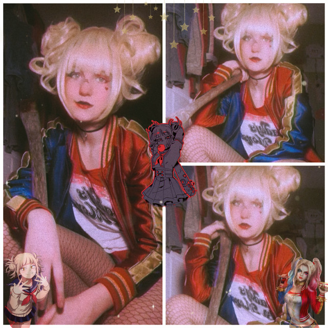 Toga and Harley Quinn Crossover😈  Im wearing shorts so...dont be weird-  I thought this looked kinda cool but i doubt ill ever do it again lol  Also i think im just gonna start posting once every sunday fyi  School is really messing with my head :,)  Anyway i hope you stay safe and have a good life >:3  Tiktok: weeblet101   #togahimiko #harleyquinn #togaquinn #crossover #bnha #mha #dc #cosplay #togacosplay #harleyquinncosplay #cosplayer #anime #weeblet101 #idk #yeet #animecosplay #cosplaygirl #a