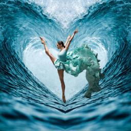 dance danseuse mer eau freetoedit
