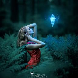 freetoedit surreal visual girl glow surrealart surrealism surrealisticworld visual_creatorz visualart visualartist heypicsart glowing blue forest dimond trees