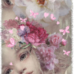 playtime faces flowers butterflies shear blending freetoedit