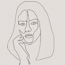 lineart drawing art onelineart face girl person people hand hair eye eyes oop freetoedit