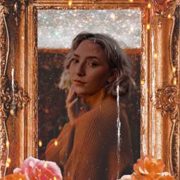 girl roses flowers frame freetoedit rcgildedfloralframe gildedfloralframe