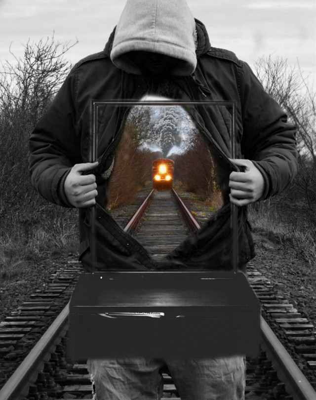 Thnk you 2nd place. I really appreciate it 🥰 💕   Thanks for voting 💞 😊   #freetoedit #man #train #eagle#traintracks #mirror #forest #darkforest #bird #wallpapper #wallpappers #wattpadcover #FRAGILE #realistic#reality #fantasy #blackandwhite  #ircmirrormirror #mirrormirror