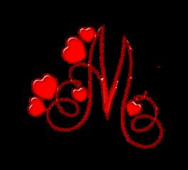 alphabet letter m red heart freetoedit