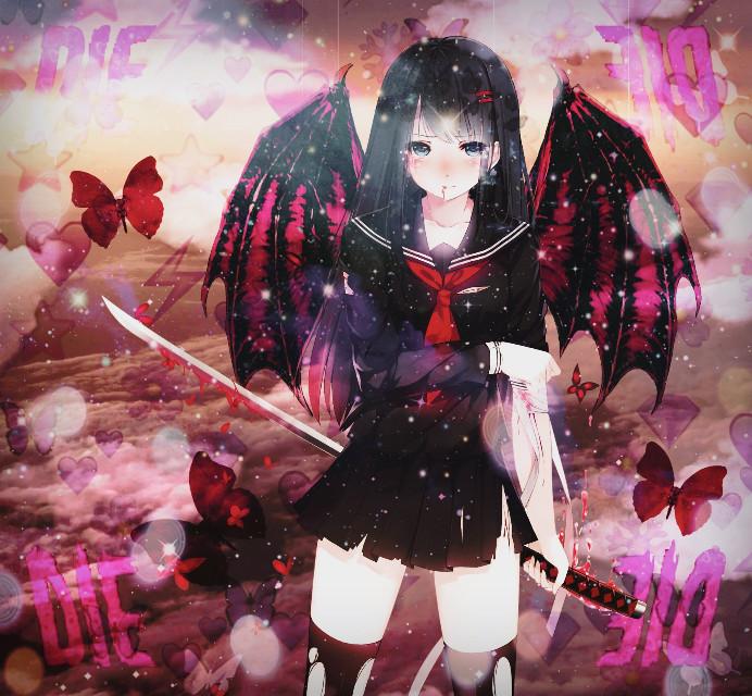 -I'm not done with you yet!  #imnotdonefighting #animegirl #die #dying #red #pink #orange #purple #katana #devil #cloudearrings #butterflies #blood #sky #sparkles #schooluniform #waifu #blush #strong #clouds #fightinginrain #hopeful #lightingthedark #cute #cool