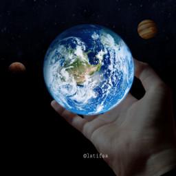 bumi earth galaxy hand tangan freetoedit