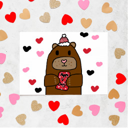 valentinesday bear handdrawn cute winter red pink white redandpink pinkandred redpinkandwhite valentinescards card drawing heart heartcrowns trendy trending freetoedit ircdesignavalentinescard designavalentinescard