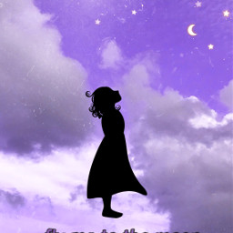 moon flymetothemoon night purple quote silhouette freetoedit