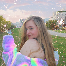 new replay editedbyme art blonde girl model aesthetic blue pink holographic sky green interesting nature travel people photography summer photo photoshoot instagram freetoedit