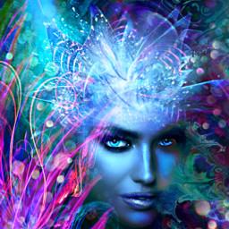 myoriginalwork originalart conceptart womanportrait colorful avantgarde abstract fantasyart mystique underwater creature