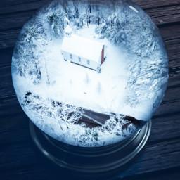 snow whinter blue snowglobe snowyforest snowyday forest house light globe snow cold