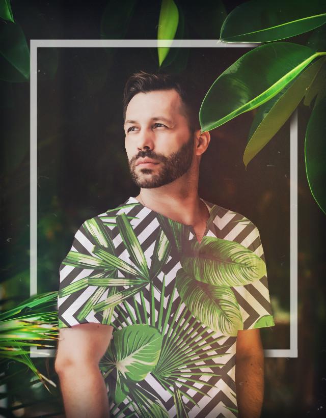 #palmtrees #pattern #leaves #box #border #frame #forest #tree #trees #shirt #overlay #man #boy #handsome #palmtree #tropical #rainforest #brownhair #beard #freetoedit
