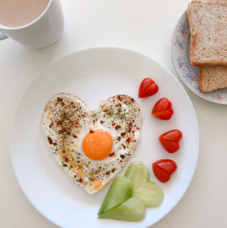 vday valentinesday breakfast lunch freetoedit hearts egg tomato food bread coffee