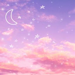 aesthetic background cute sky wallaper pink blue purple sweet orange moon egite star stars sparkle glitter love valentinesday valentine iphone freetoedit