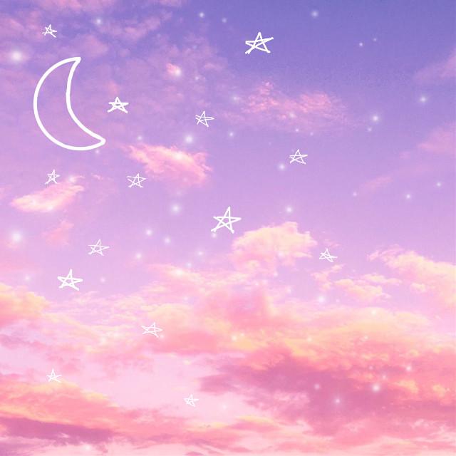 #aesthetic #background #cute #sky #wallaper #pink #blue #purple #sweet #orange #moon #egite #star #stars #sparkle #glitter #love #valentinesday #valentine #iphone