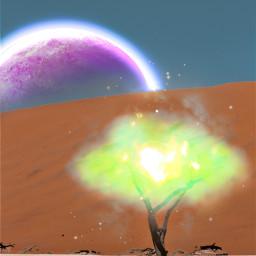 surreal tree desert galaxy universe nature bright freetoedit