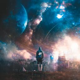 @mrizky_loveart1318 unsplash google freetoedit man standing galaxy cityscape planet noearth manipulation fantasy madebyme madewithpicsart freetoeditremix