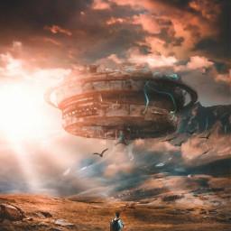 @mrizky_loveart1318 unsplash pixabay google freetoedit spaceship mountains light manipulation aloneboy fantasy madebyme madewithpicsart freetoeditremix