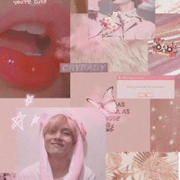 taehyung bts pink wallpaper pinktaehyung freetoedit