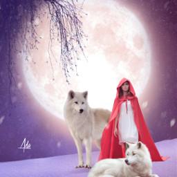 wolf girl night moon sky snow tree darkart glow stars landscape beautifulbackground love freetoedit quote quotes remixit