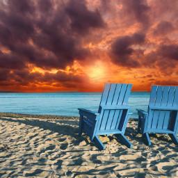 sunset sea ocean beach sky colorful colors madewithpicsart vibes createfromhome freetoedit unsplash