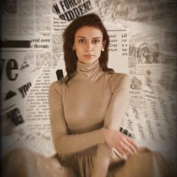 newspaper background news newspaperbackground beige shadow dress pose brownhairgirl brownhair brown girl woman freetoedit