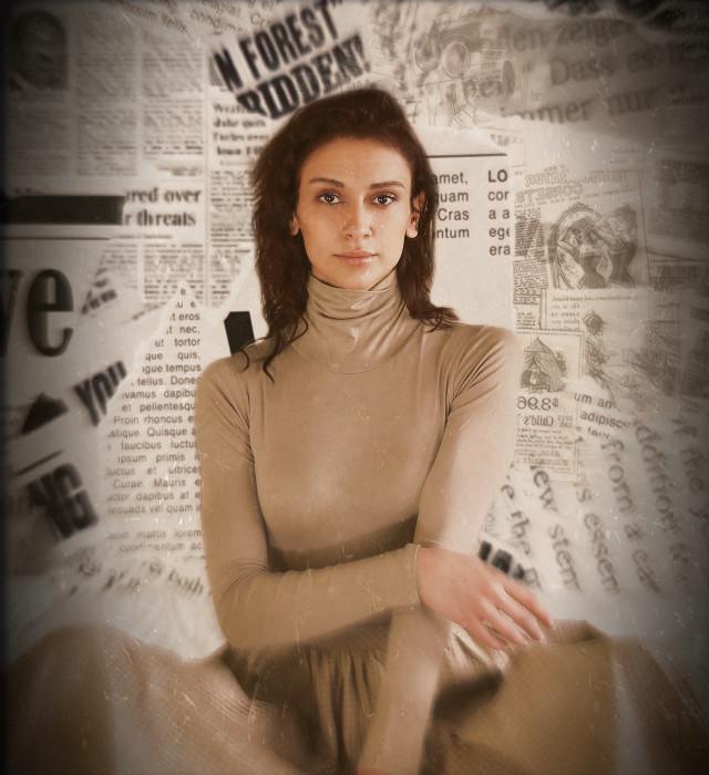 #newspaper #background #news #newspaperbackground #beige #shadow #dress #pose #brownhairgirl #brownhair #brown #girl #woman